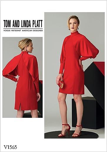 فستان بياقة عالية بأكمام طويلة من فوغ باترنس V1565A50 ، برتقالي