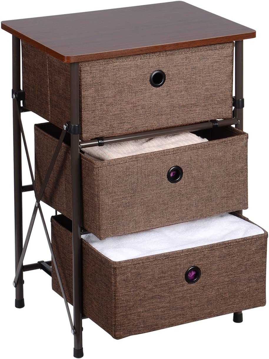 Sortwise Modern Style End Table Night Stand With 3 Storage Bins For Bedroom Organizer