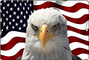 Rogue River Tactical USA American Mad Eagle Flag Metal Tin Sign Wall Decor Man Cave Bar US United States