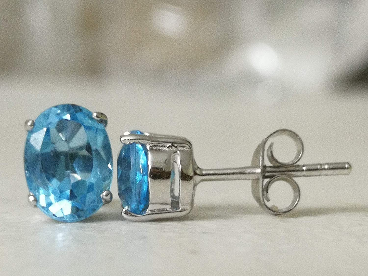 Blue Topaz Natural Gemstone 925 Solid Sterling Silver Handmade Earring Turquoise