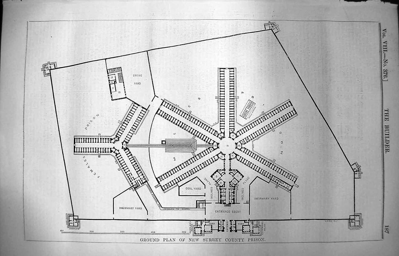 Amazon.de: Erbauer-Grundriss-Neues Surrey-Grafschafts-Gefängnis 1850 ...