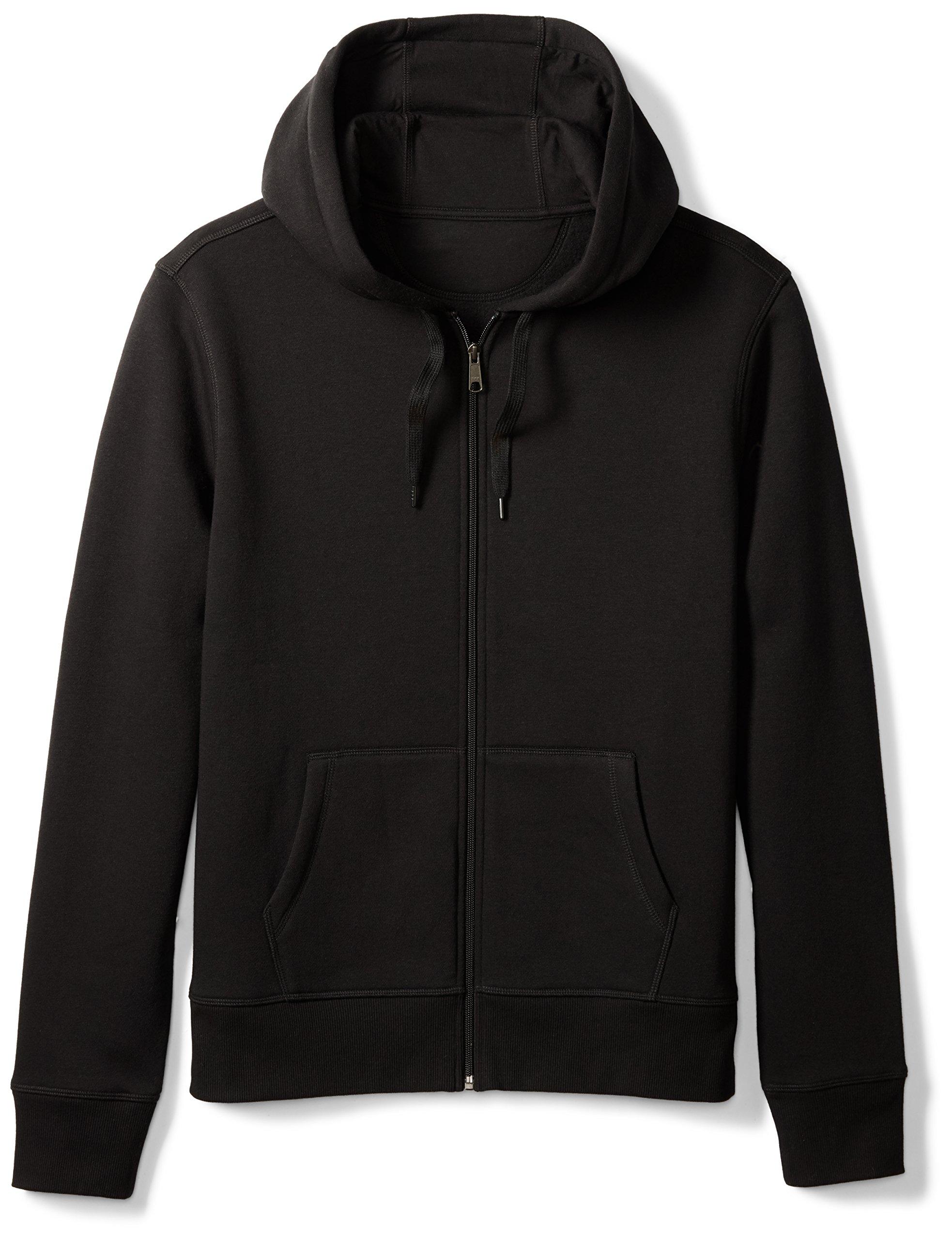 Amazon Essentials Men's Full-Zip Hooded Fleece Sweatshirt, Black, Large by Amazon Essentials