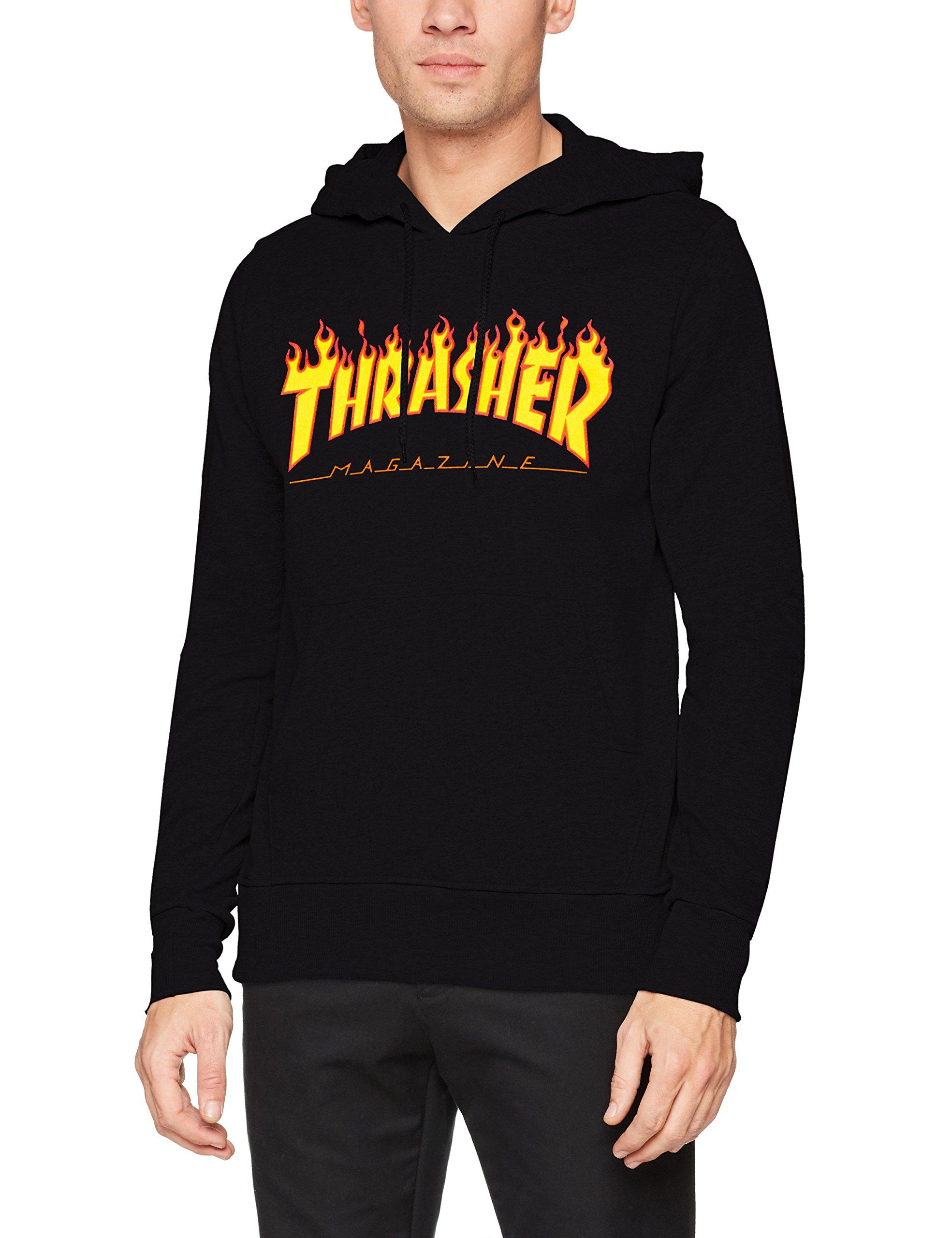 Thrasher Flame Logo Hooded Sweatshirt (Black) Small