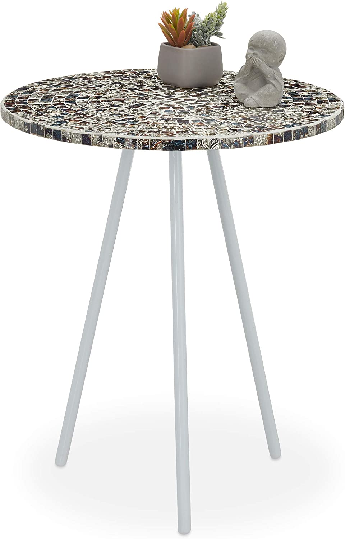 Relaxdays Mesa Auxiliar Mosaico, Hecha a Mano, Hierro-DM-Cristal, Blanco-Plateado, 50 x 41 cm