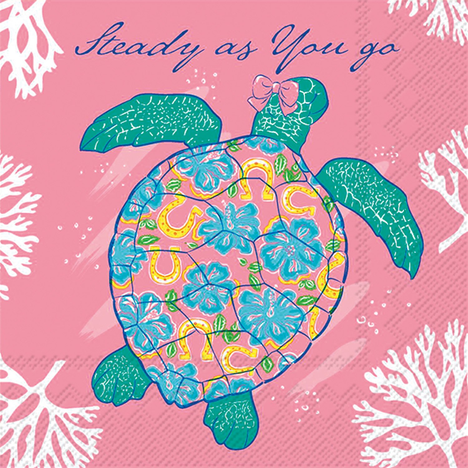Celebrate the Home Simply Southern 3-Ply Paper Cocktail Napkins, Turtle, 20 Count