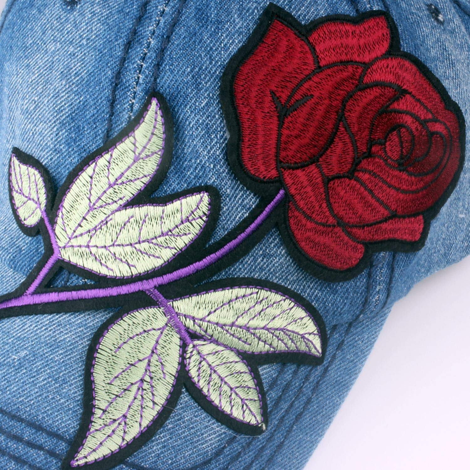 Denim Baseball Cap with red Rose Women Casual Snapback hat Solid Jeans caps Summer Sun Lady Hats