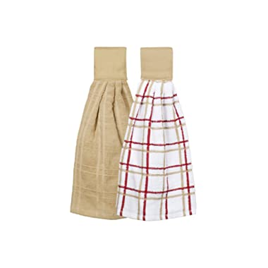 Ritz Kitchen Wears 100% Cotton Checked & Solid Hanging Tie Towels, 2 Pack, Biscotti, 2 Piece