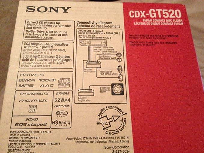 Sony Cdx Gt520 Car Stereo Wiring Diagram