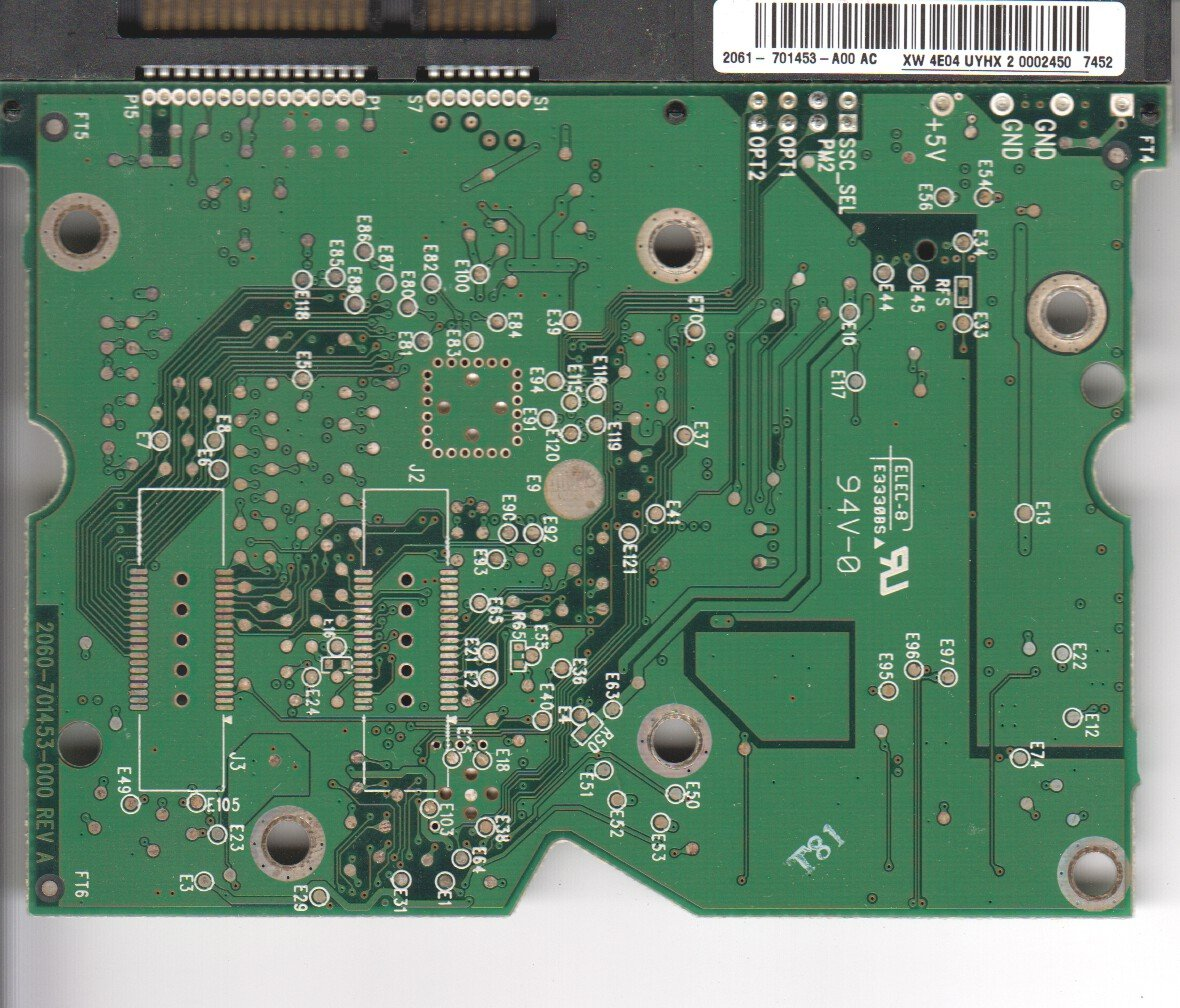 WD740ADFD-00NLR4, 2061-701453-A00 AC, WD SATA 3 5 PCB