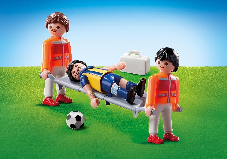 Playmobil 9826 - Joueur de Foot avec Blessure et Secouristes - Emballage Plastique, pas de boîte