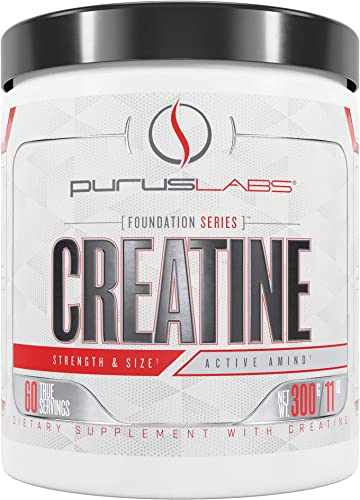Purus Labs Foundation Series Creatine 100 Ultra Pure Micronized Creatine for Strength, Mass, Power, Recovery 60 Servings Unflavored