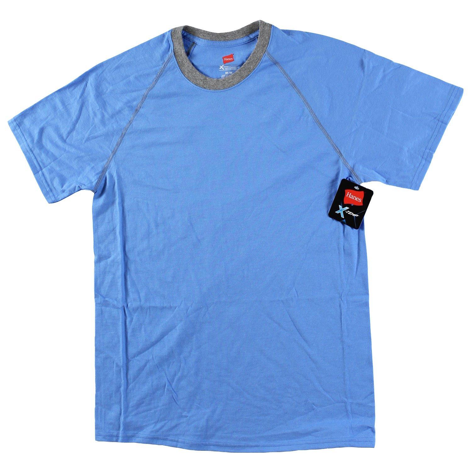 Hanes Men's 2 Pack X-Temp Performance T-Shirt (X-Large, Sky Blue / Grey)