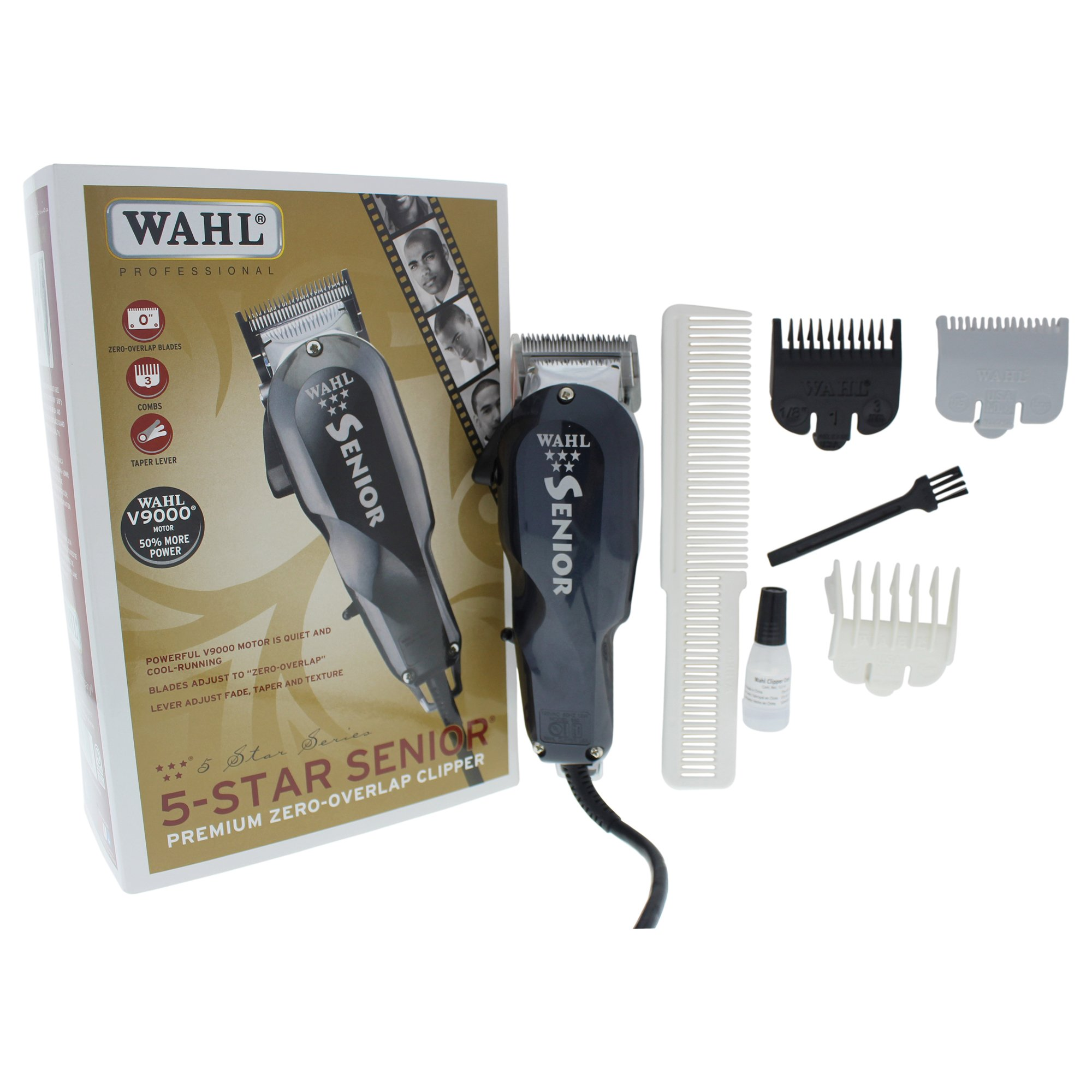 Wahl Professional 5 Star Series Senior Clipper #8545 – Great for Professional Stylists and Barbers – V9000 Electromagnetic Motor – Black --Aluminum metal bottom housing