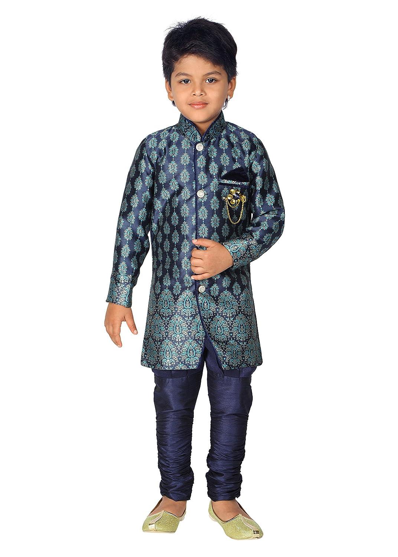 842cf9012153 Amazon.com  Ahhaaaa Kids Ethnic Boy s Indo-Western Festive and Party Wear  Sherwani and Breeches Set (3-4 Years