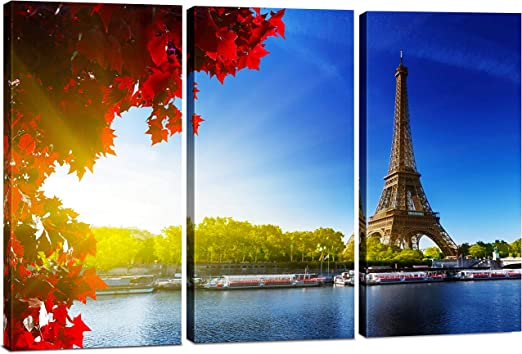 Amazon Com Canvas Wall Art Decor 12x24 3 Piece Set Total 24x36 Inch Paris Eiffel Tower Decorative Modern Multi Panel Split Canvas Prints For Dining Living Room Kitchen