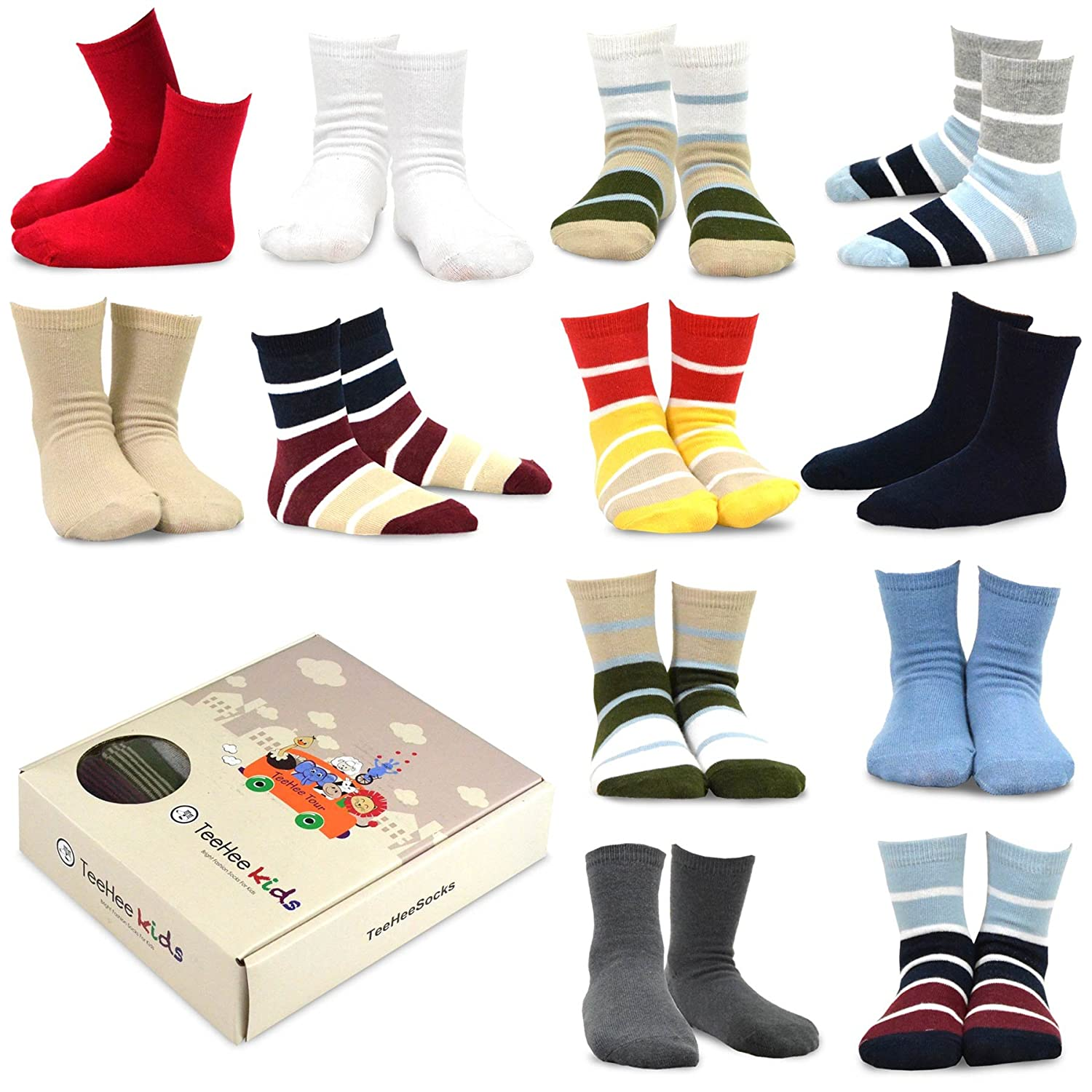 TeeHee (Naartjie) Kids Boys Cotton Basic Crew Socks 12 Pair Pack