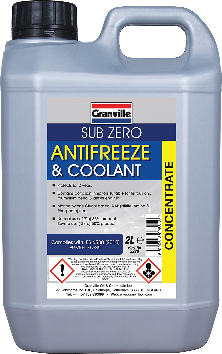 Granville 222Q Sub-Zero - Liquido anti-gelo, 2 L, colore. Blu Granville Oil & Chemicals Ltd