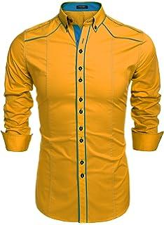 COOFANDY Camisa Casual Hombre Manga Larga de Vestir Color Contraste de Moda ad52e548d7d