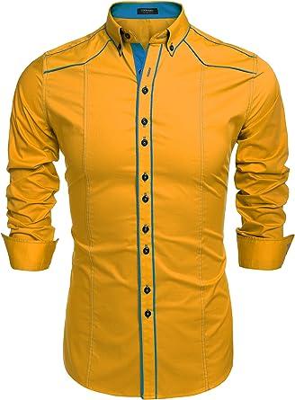 COOFANDY Camisa Casual Hombre Manga Larga de Vestir Color Contraste de Moda: Amazon.es: Ropa y accesorios