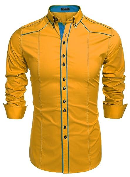 COOFANDY Camisa Amarilla Hombre Ajustado de Algodón Botton Down con Cuello Clásico S