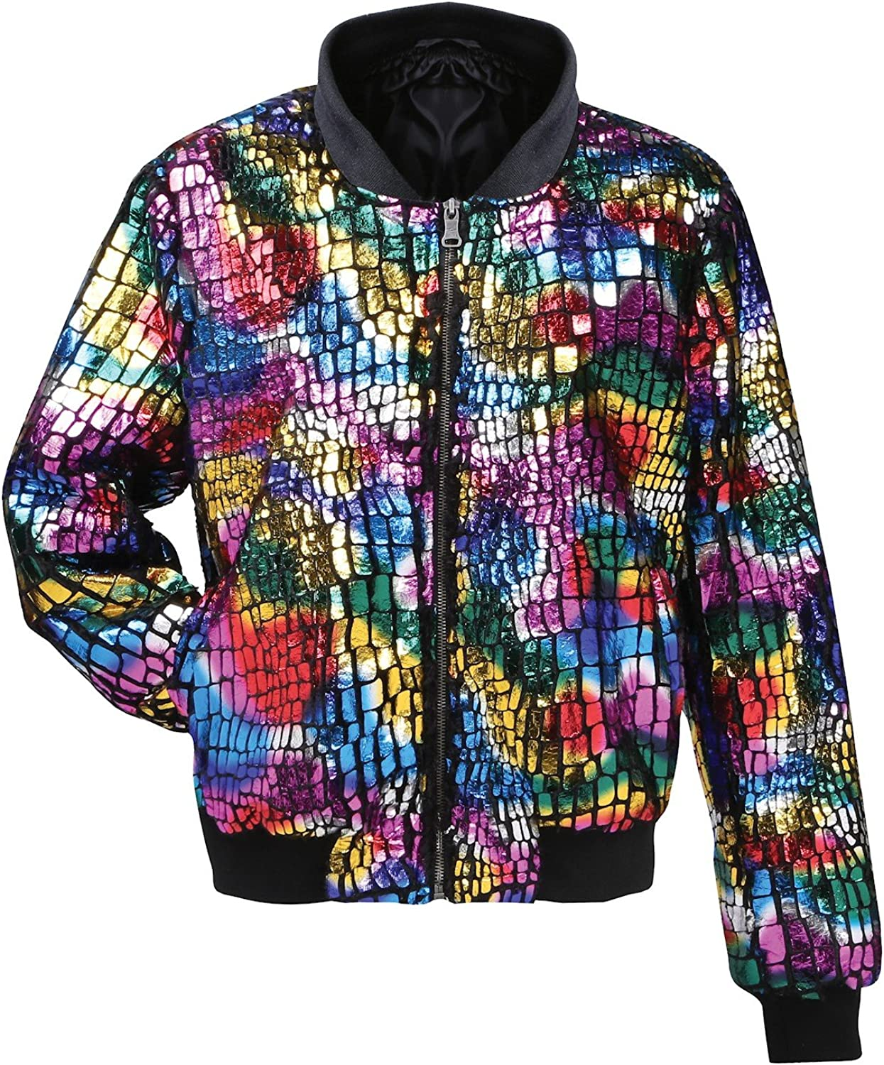 Women/'s Multi-Colored Bomber Fashion Jacket