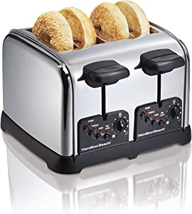 Hamilton Beach Classic Chrome 4 Slice Extra Wide Slot Toaster with Bagel Technology, One-Touch Smart Functions, Shade Selector, Toast Boost, Auto-Shutoff and Cancel Button (24790)