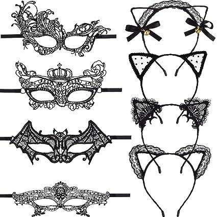 Boao Máscara Negra de Encaje para Mujer, 4 Piezas, con Orejas de Gato de