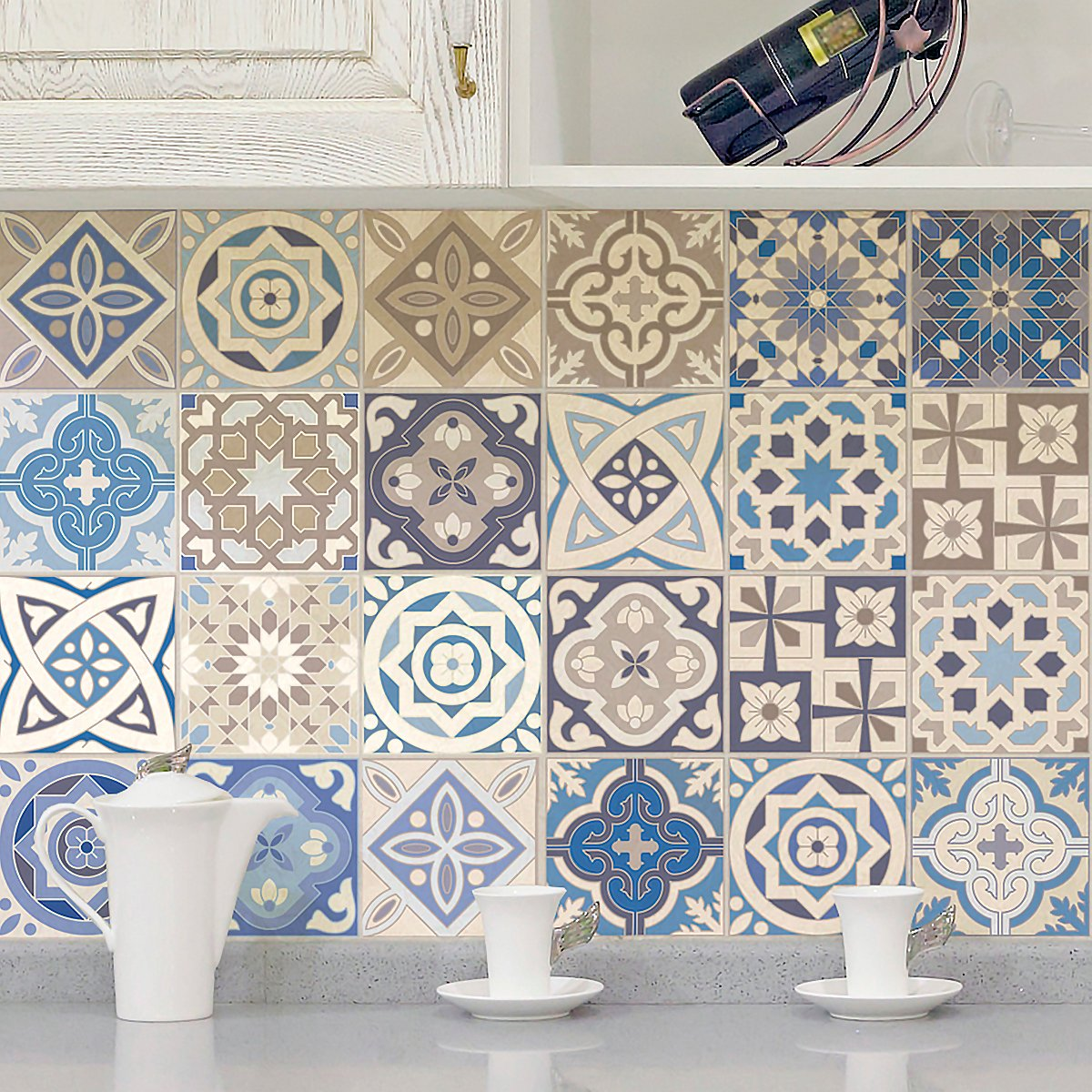 24 pi/èces Stickers adh/ésifs carrelages muraux azulejos 20 x 20 cm