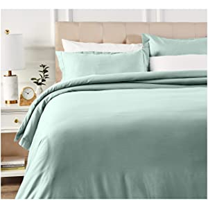 AmazonBasics 400 Thread Count Cotton Duvet Cover Bed Set with Sateen Finish - King, Seafoam Green