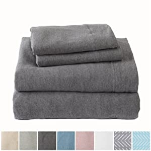 Great Bay Home Extra Soft Heather Jersey Knit (T-Shirt) Cotton Sheet Set. Soft, Comfortable, Cozy All-Season Bed Sheets. Carmen Collection Brand. (Queen, Charcoal)