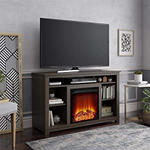 "Ameriwood Home Edgewood Fireplace 55"", Weathered Oak TV Stand,"
