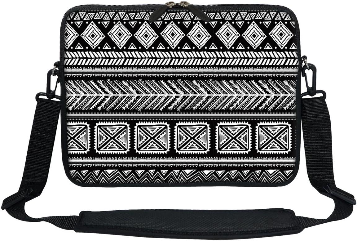 Meffort Inc 11.6 12 Inch Neoprene Laptop Sleeve Bag Carrying Case with Hidden Handle and Adjustable Shoulder Strap - Black Gary Pattern