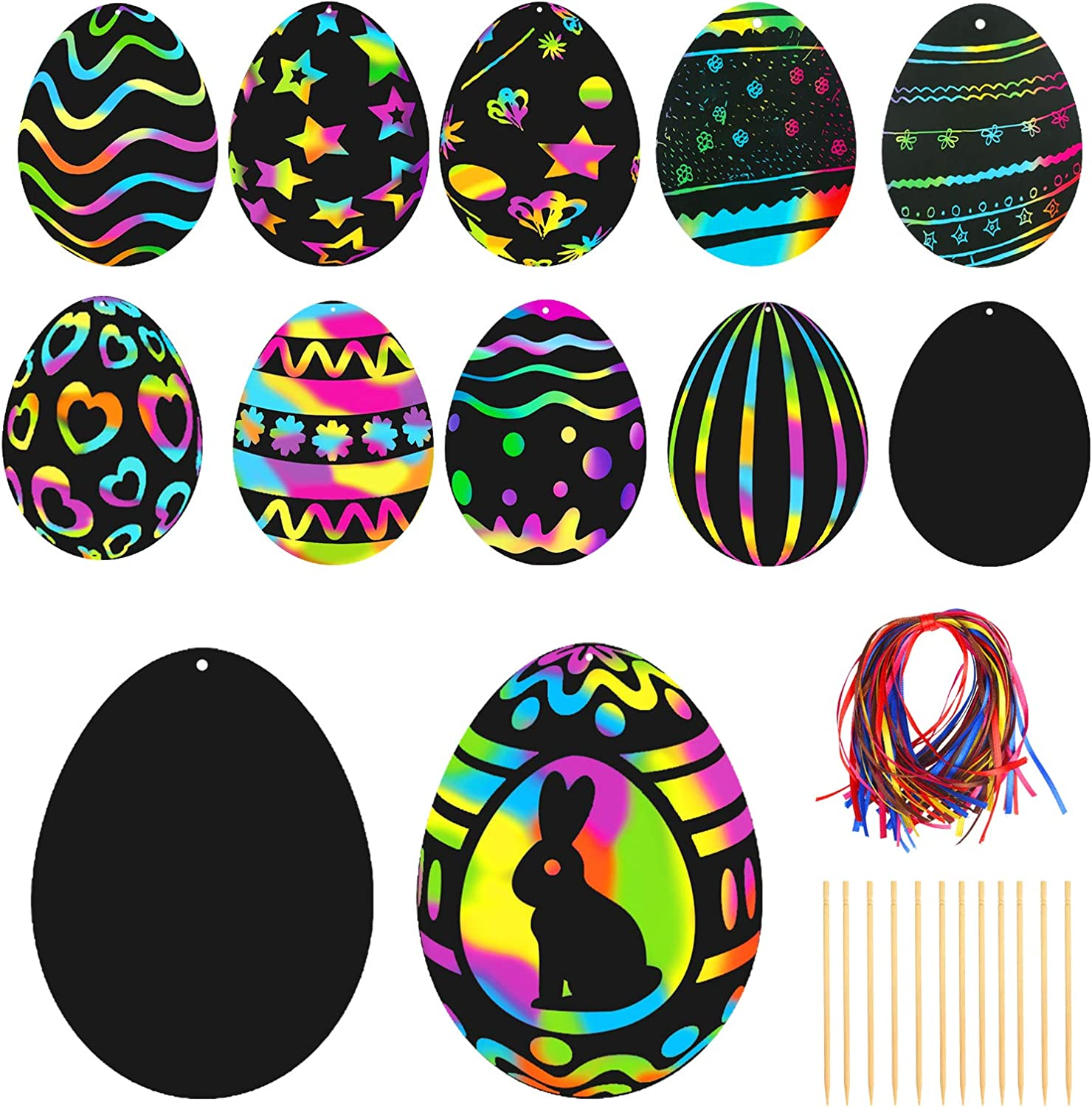 108pcs Easter Scratch Crafts Art Kit Magic Colorful Rainbow Scratch Paper Card Easter Egg Shape with Ribbons Wooden Scratch Tools and Envelopes for Easter Party Egg Hunt Game Classroom Decoration