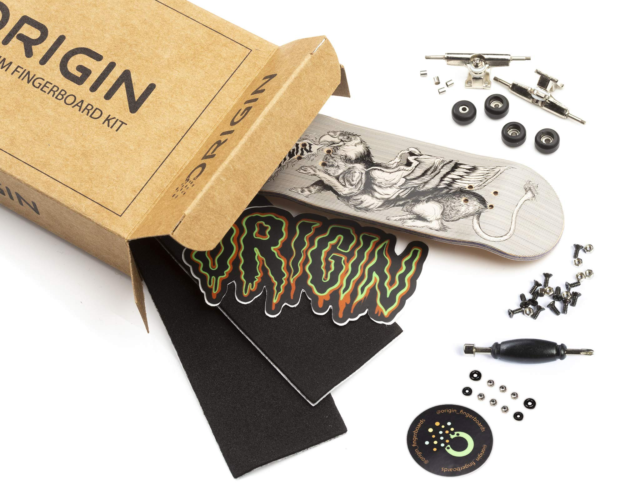 Origin Fingerboards Premium Graphic Fingerboard Kit - 32mm 5-Ply Canadian Maple Skateboard Toy with CNC Bearing Wheels (Griffin) by Origin Fingerboards