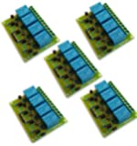 Electrobot 4 Channel DC 5V Relay Module with Optocoupler Low Level Trigger Expansion Board (Green)- Pack of 5