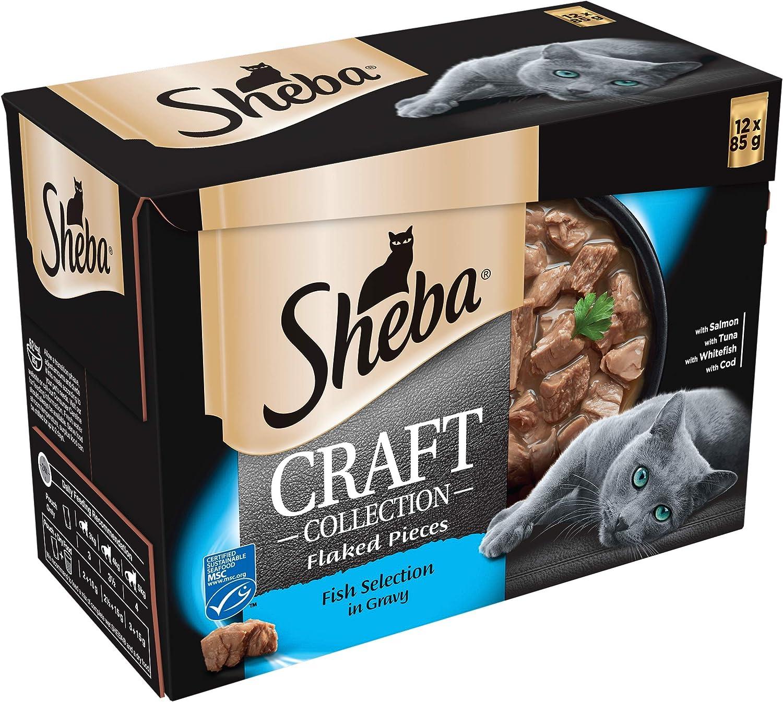 Sheba Craft Collection – Selección de Pescado en Salsa – Bolsas de Comida para Gatos Adultos – 48 x 85 g Pack