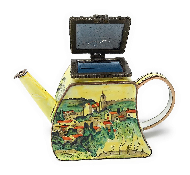 KELVIN CHEN Enamel Copper Handpainted Mini Teapot-Village Gardanne CEZANNE