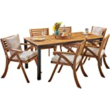 Christopher Knight Home Nora Outdoor 7 Piece Acacia Wood Dining Set, Teak and Cream