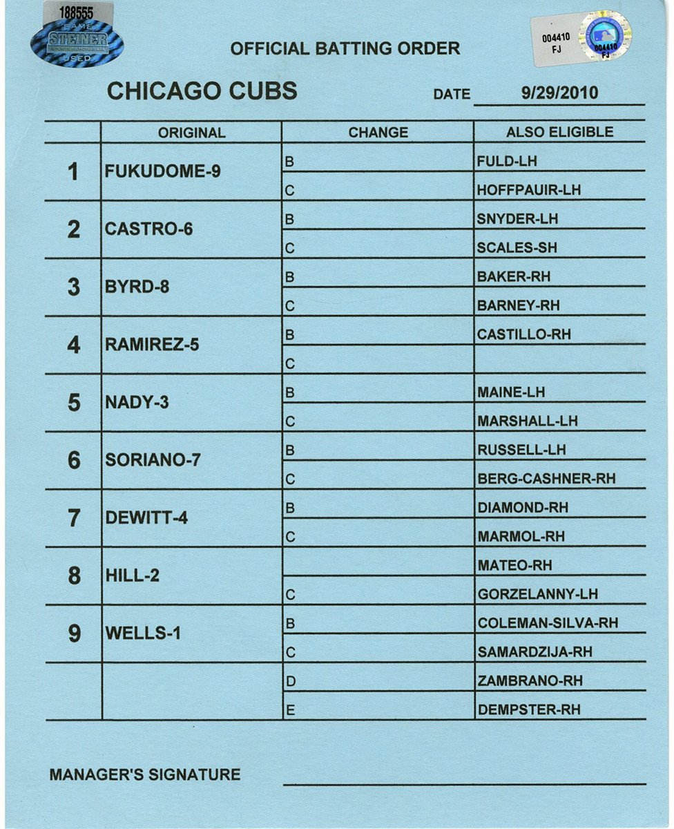 Chicago Cubs at San Diego Padres 9 29 2010 Blue Game Used Line up Card (FJ004410)