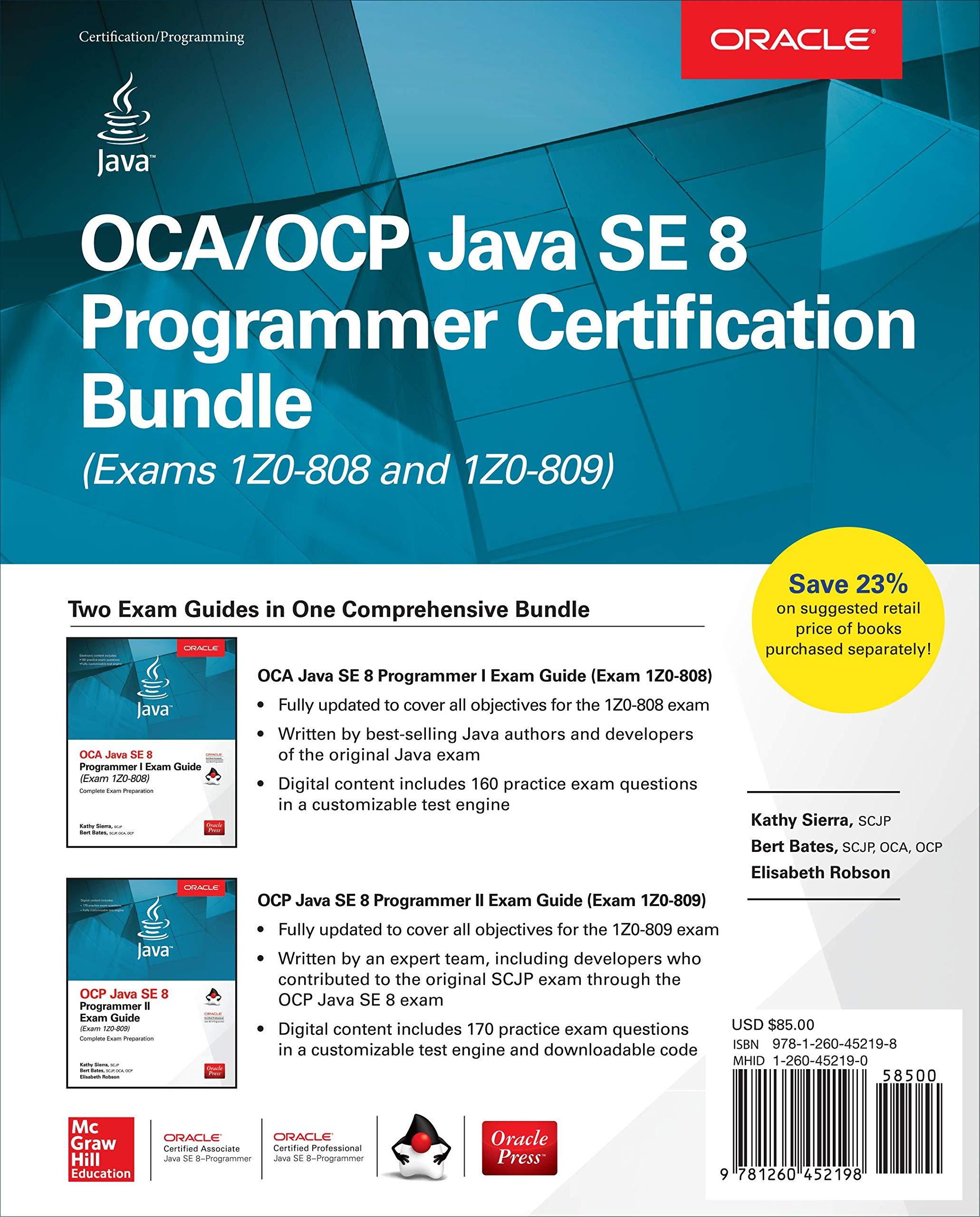 Ocaocp Java Se 8 Programmer Certification Bundle Exams 1z0 808 And