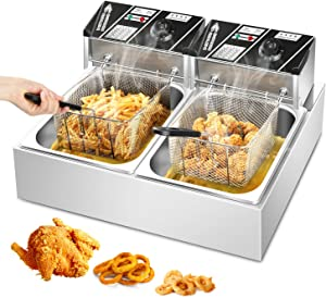 Electric Countertop Deep Fryer Double Tank Basket Lid Commercial Kitchen Frying Machine with Temperature Control Stainless Steel Oil Fryer for French Fries Onion Rings Egg Rolls Fried Chicken Donuts