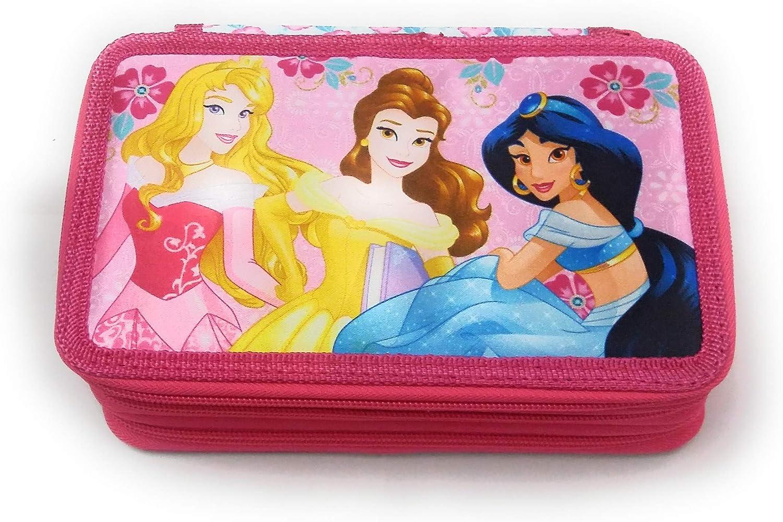 Disney Princess – Estuche Escolar 3 Cremalleras Princesas Disney – Completo de 44 Piezas: Amazon.es: Equipaje