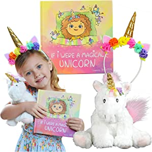 Tickle & Main Unicorn Gift Set – Includes Book, Stuffed Plush Toy, and Headband for Girls Ages 2 3 4 5 6 7 Years - If I were A Magical Unicorn – Great for Birthday, Imaginative Play