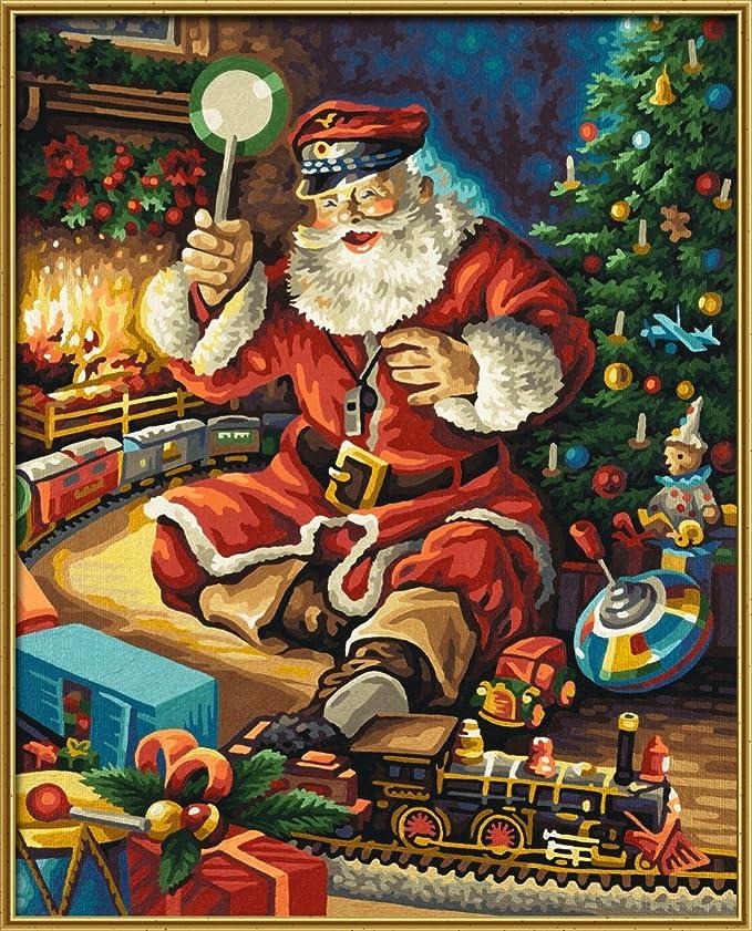 Weihnachtsbilder Italienisch.Schipper 609300697 Malen Nach Zahlen Weihnachtsmann Und Eisenbahn 40 X 50 Cm