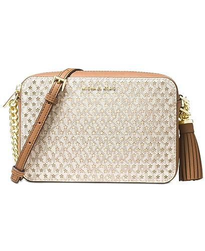 bbe2c794ae84 Amazon.com: MICHAEL Michael Kors Womens Ginny Metallic Camera Crossbody  Handbag White Small: Shoes