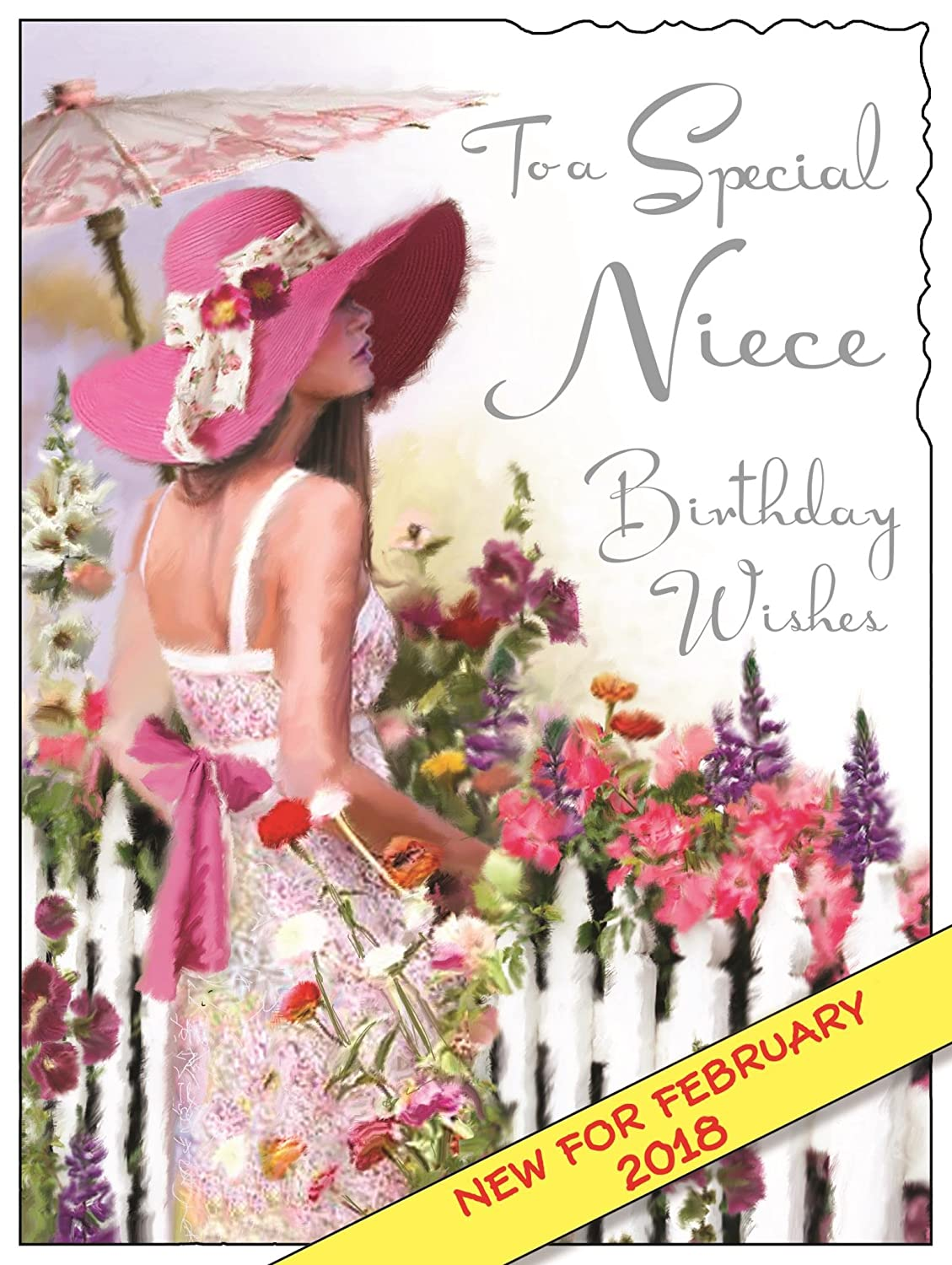 Birthday Card For Niece.Illustrated Niece Birthday Card Jj3599 Picket Fence From The Velvet Range Embossed With A Silver Foil Flitter Finish