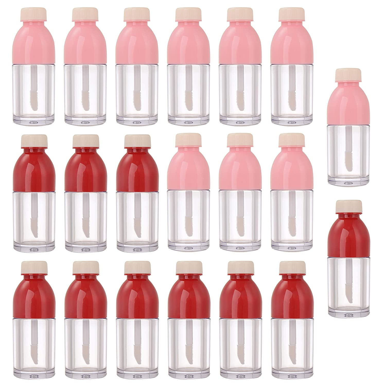 YARUMI 20 Pack Cute Lipgloss Empty Refillable Tubes,8ml Beverage Bottle-Shaped Lip Gloss Containers with Applicator,Cosmetic Reusable Lipstick Sample Vials Lip Glaze Clear Bottle with Rubber Stopper