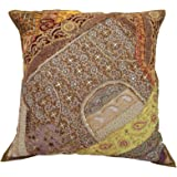 """Embroidered Beaded Pillow Decorative Cushion Cover Cotton Case 24"""" X 24"""""""
