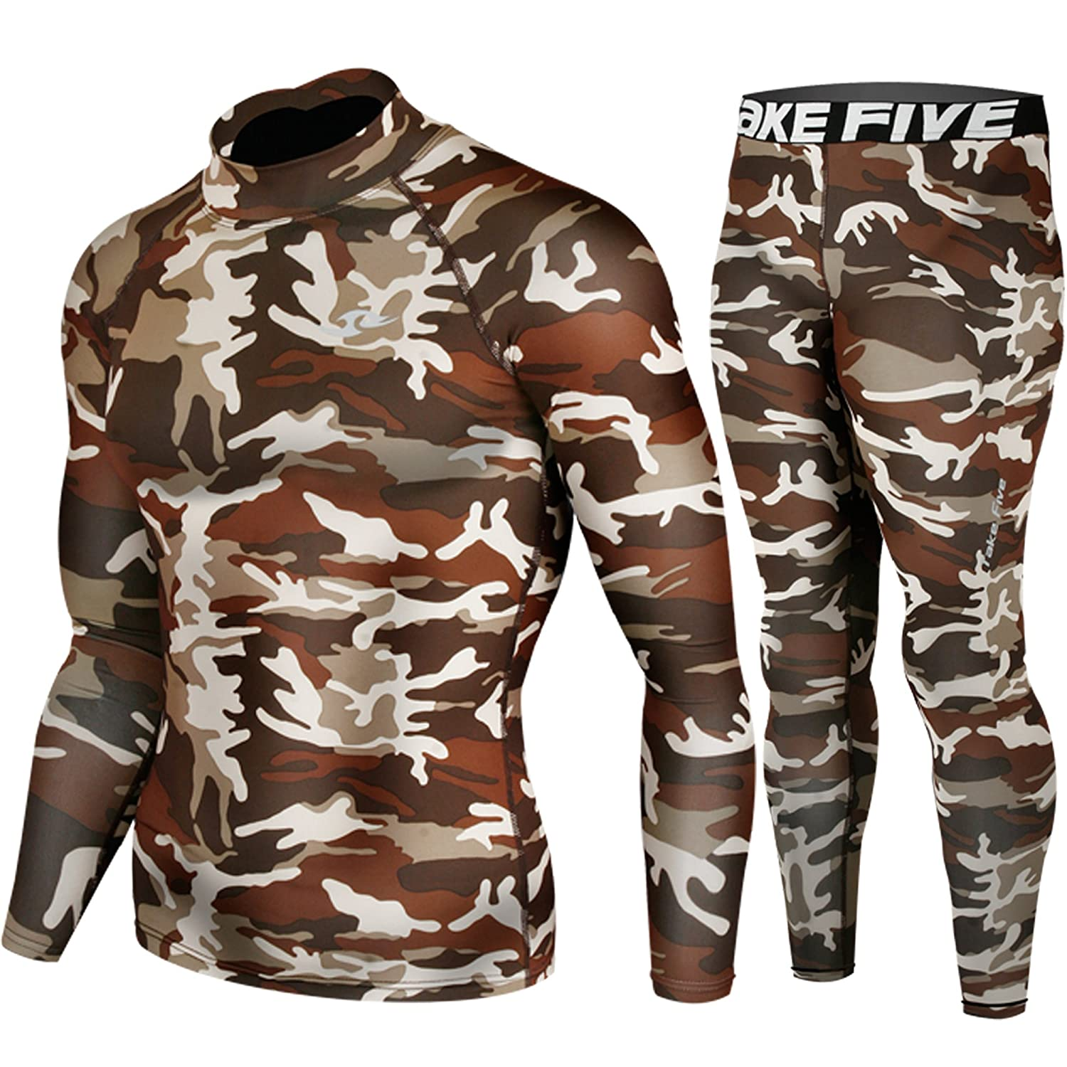 Skin Tight Compression Base Layer Long Sleeve Under Shirt & Pants Camo Pattern SET JustOneStyle