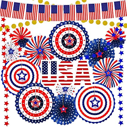 Red White and Blue Patriotic 4th of July Party Beads 6 pack